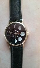 Moon Phases Leather Band Wrist Watch