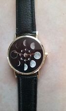 Band Wrist Watch Black Occult Moon Phases Occult Leather