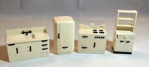 Ideal Kitchen Vintage Doll House Furniture: Refrigerator Stove Cabinet Sink Cup