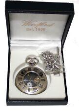 Woodford 24 Hour Moondial Half Hunter Chrome Plated Mechanical Pocket Watch 1024