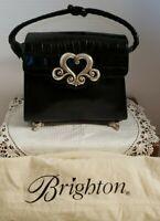 Brighton Small Black Leather Handbag Purse w/ feet & dustbag. Croc Embossed VGUC