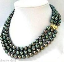 triple strands SOUTH SEA AAA 9-10MM BLACK PEARL NECKLACE 14k