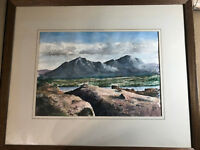 "Large O.K Johnston ""Mountain Landscape Scene"" Watercolor Painting- Signed/Framed"