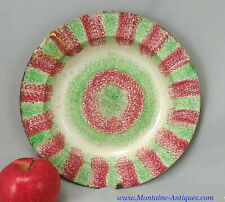 Rare Green/Red Rainbow Spatterware Plate 19th cent