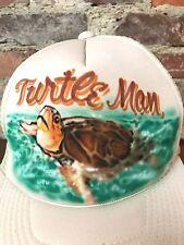 VTG Trucker Hat Air Brushed Turtle Mom Segal Polyester Mesh Snapback Beige H6