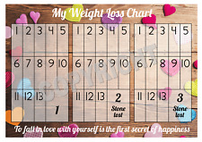 Weight Loss Chart - 3 stone - 1 Sheet of stickers - Coloured Hearts - Slimming
