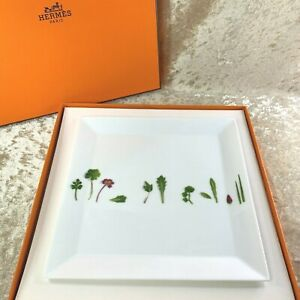 HERMES PARIS Porcelain Dish Tray MESCLUN Tableware Green Leaf w/ Case (NEW)