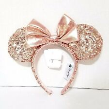 Disney Parks Rose Gold Minnie Mouse Bow Sequins Ear Headband Brand New Champagne