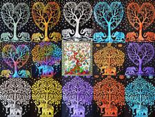 New Indian Cotton Traditional Multi Mandala Elephant Tree Wall Hanging Poster