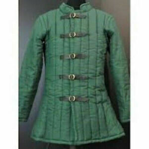 Green Full Sleeves Gambeson Neck Medieval-Reenactment-Historical-Padded-Aketon