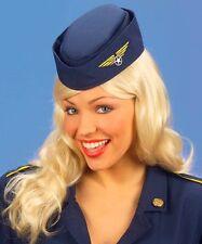 Calot d'hôtesse de l'air ou de pilote bleu marine déguisement costume carnaval