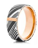 Hand Made Damascus Steel Copper Inlay & Sleeves Ring With Gift Box