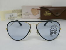 New Vintage B&L Ray Ban Large Metal Leathers Gold Black Changeable Blue L0033