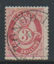 Norway - 1871/5, 3sk Rose stamp - F/U - SG 40