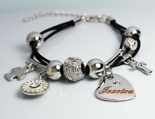 Genuine Braided Leather Charm Bracelet With Name - JESSICA - Gifts for her