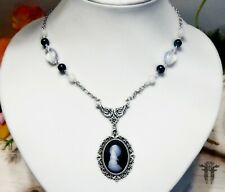Howling Wolf Moon Cameo Pendant Necklace with Moonstone & Black Agate Beads