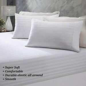 """{1000-TC} 1-Piece Elastic Band Fitted Cotton Sheet with 15"""" Pocket White Stripes"""