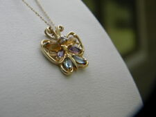 10K Yellow Gold Beautiful Necklace Butterfly Pendant With Gemstones