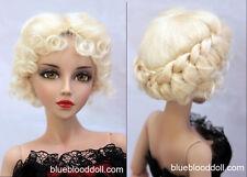"1/3 bjd 8-9"" doll head light blonde real mohair vintage wig dollfie #W-JD089M9L"