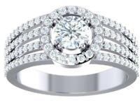 Halo Set Solitaire Annivarsary Ring I1 G 1.50Ct Round Cut Diamond 14K White Gold