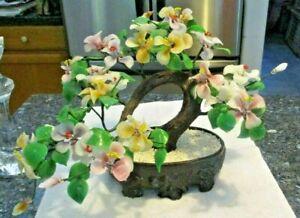 Glass Bonsai Tree jade leaves and flowers in Oriental Pot