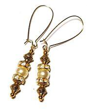 Ivory Pearl Earrings Prom Bridal Vintage Gold Style Boho Drop Dangle Glass Bead