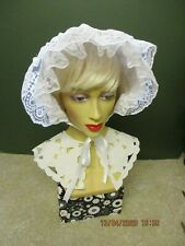 ADULT SISSY BABY BONNET WHITE FRILLY WITH LACE