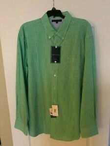 Tommy Hilfiger Mens Shirt Classic Fit Long Sleeve Green Plaid Gingham New