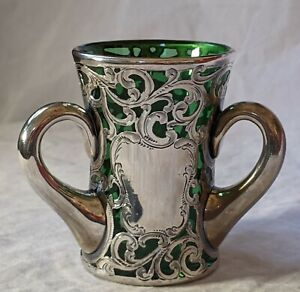 Alvin Art Nouveau Silver Overlay on Green Glass 3 Handled Loving Cup No Reserve!