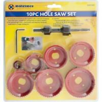 10 PC HOLE SAW KIT HOLE SAW  CUTTER ARBOR & ALLEN KEY BRAND NEW