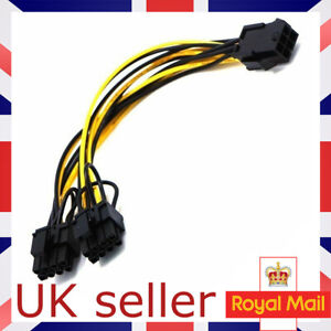 PCI-E 6-Pin Female To Dual 8-Pin 6+2 Pin Male Video Card Power Adapter Cable UK