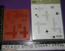 STAMPIN UP CROSS MY HEART 8 CLING RUBBER STAMPS WORD PUZZLE WISHES BIRTHDAY