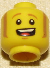LEGO NEW MINIFIGURE HEAD WITH BROWN EYEBROWS AND OPEN MOUTH