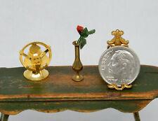 Vintage Fan & Brass Bud Vase Dollhouse Miniature 1/2 Scale 1:24