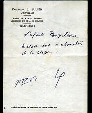"YERVILLE (76) ORDONNANCE de MEDECIN ""Docteur J. JULIEN"" en 1961"