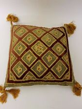 NEW ENGLISH HOME ANTIQUE STYLE FEATHER FILLED GOLD VELVET NET CUSHION 20cm/8""