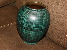 WEST GERMAN GREEN & BLACK CHEQUERED VASE 526-13 PROBABLY CARSTENS c1950's