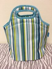 Tupperware Insulated Lunch Bag Green, Blue, White 13 x 13 x 7 New
