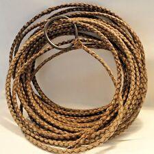 ANTIQUE LEATHER LASSO FROM BRASIL, HEAVY HUGE, LARGE IRON HONDO, REAL DEAL