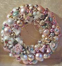 Pink Christmas Ornament Wreath, Shabby Chic, Krebs Ornaments, MADE TO ORDER