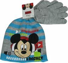 Boys Disney Mickey Mouse Winter 2 Piece set Beanie, Hat & Gloves Grey-54 cm