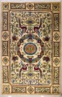 Rugstc 6x9 Senneh Chobi  White Rug,Natural dye,Hand-Knotted,Pictorial Hunting,Wo