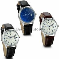 Luxury Business Men's Dress Date Watches Leather Band Analog Quartz Wrist Watch