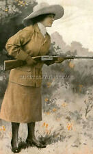 ANTIQUE REPRO PHOTOGRAPH PRINT WOMAN WITH SAVAGE MODEL 99 RIFLE