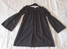 Love London Black & White Check Bardot Mini Dress Size XS