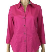 SIGRID OLSEN Collared Button Front Shirt Bright Pink With Turquoise Accent