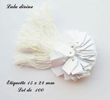 100 étiquettes à fil en coton blanc / Etiquette pour prix : 15 x 24 mm