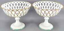 Pair of Mid 19th Century Old Paris Porcelain Gilt Reticulated & Green Compotes