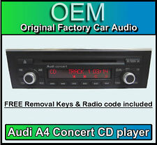 Audi A4 CD player, Audi Concert car stereo + radio code, removal keys *CHROME*
