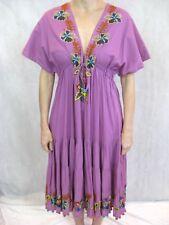 Camilla Size 1 or 10 Purple Cotton Beaded Sun Maxi Dress